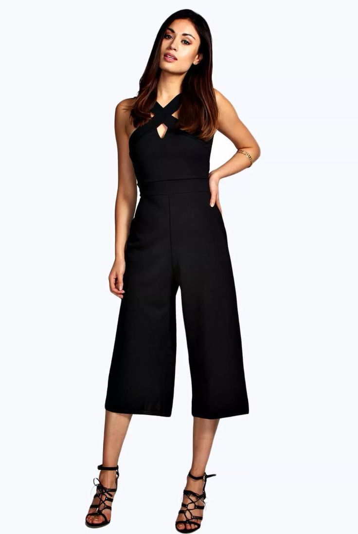 Black 3/4 leg jumpsuit | Fashion | Pinterest | Black, Jumpsuits ...