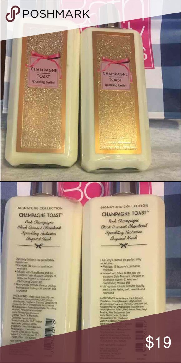 BBW Champagne Toast Lotion NWT 2 bottles of Champagne Toast sparkling bellini body lotion in 8.4 ounces each by Bath & Body Works Bath & Body Works Other
