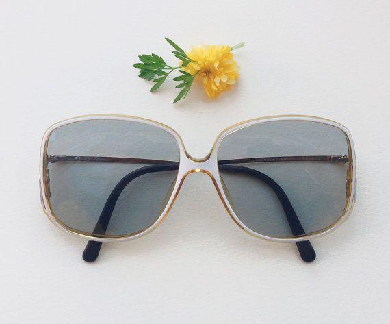 SAPHIRA lunettes de soleil  / Vintage Retro 80s lunettes / lunette blanc or / strass