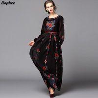 2017 Летом Новый Европейский Подиум Dress Женская Цветы Вышитые Ретро Темперамент Стройный Dress With Belt