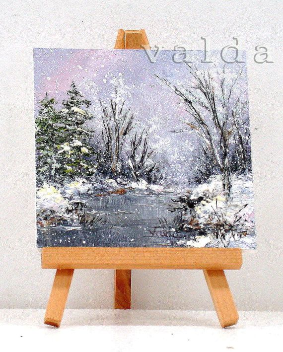The beauty of Winter. original 4x4  miniature by valdasfineart