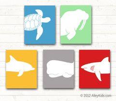 Ocean / Sea Life Nursery Art -   turtle, walrus, dolphin, whale and shark. Nursery decor ideas.