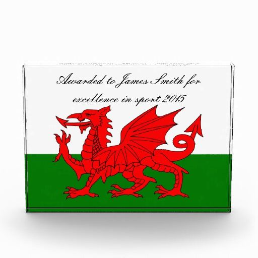 Wales flag custom award- great for aspiring and budding sportsmen and athletes