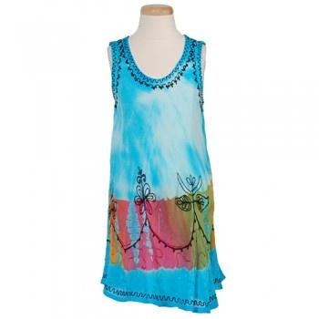 Little Girls Blue Tie Dye Embroidered Rayon Summer Dress 3-12