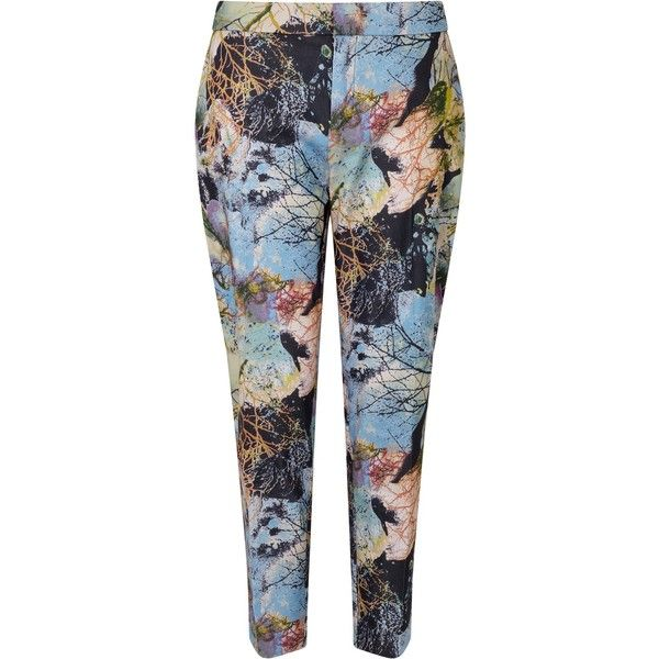 BOSS Orange Seike Printed Trousers (€170) ❤ liked on Polyvore featuring pants, capris, stretchy pants, silk print pants, silk trousers, stretch crop pants and cropped trousers