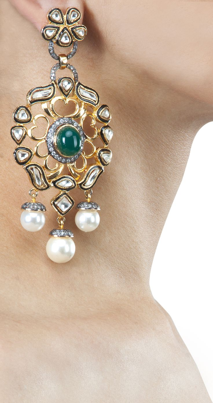 Pearl and kundan danglers by ROHITA AND DEEPA. Shop at http://www.perniaspopupshop.com/whats-new/rohita-and-deepa-30