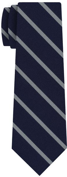 White on Navy Blue Striped Silk Tie