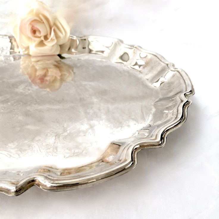 Vintage Silver Tray, Vanity tray, Round Silver Platter, Shabby Chic French Decor, silver plate, French Farmhouse Decor by EllasAtticVintage on Etsy