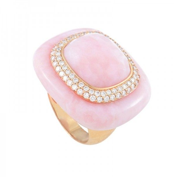 French Collection 18K Rose Gold Pink Quartz Diamond Ring.