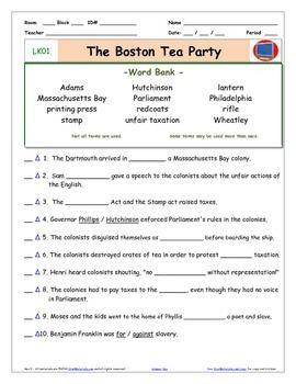 "A Liberty's Kids ** LK01-""Boston Tea Party"" Worksheet, Ans Sheet, Two Quizz"