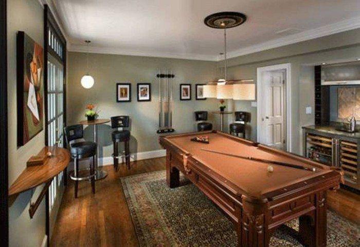 Billiard Room Decor With Grey Walls