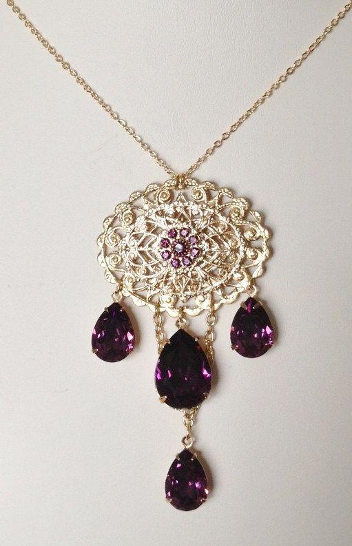 Anne Boleyn Amethyst Gold Brooch or Necklace by tudorshoppe