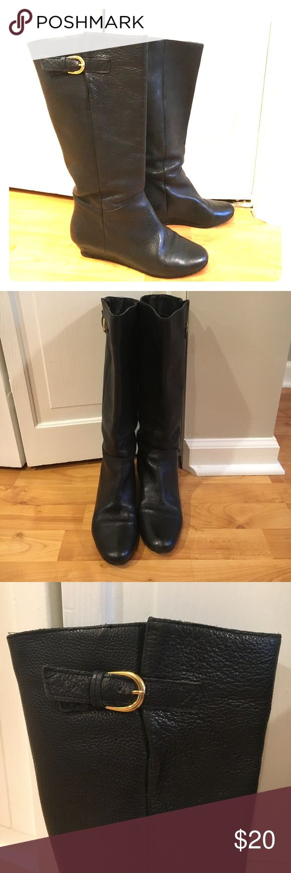 Steve Madden black leather boots Steve Madden Intyce black leather boots with gold buckle on side, lightly worn at toe and heel Steve Madden Shoes Winter & Rain Boots