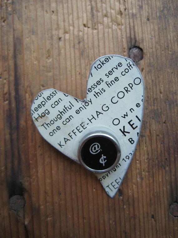 Vintage Kaffee Hag Coffee Tin Heart Brooch by hoitytoitydesigns, $13.50