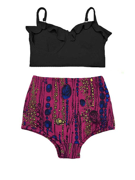 Black Midkini Top and Maroon Graphic Waisted Waist by venderstore