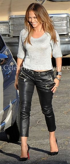 Seen on Celebrity Style Guide: Jennifer Lopez wore Balmain Zipped Leather Trousers and Christian Louboutin Pigalle Spikes 120 Studded Leather Pumps on the set of her new music video Papi (August 22, 2011)