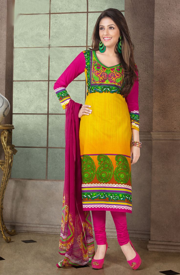 Aarti Chhabria Yellow & Pink Cotton Suit