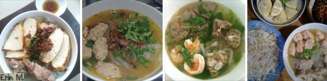 Vietnamese crab noodle and meatball. Serving in many different ways