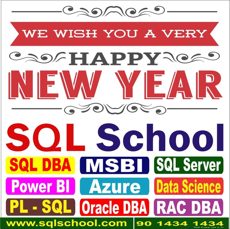 The new year stands before us, like a chapter in a book, waiting to be written. We can help write that story by setting goals.  SQL School Training Institute wishes you a Happy New Year  Website: www.sqlschool.com  India (+91): +91(0) 90 1434 1434 (24x7) USA (+1): (510) 400-4845