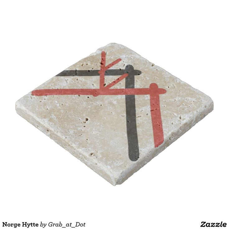 "Travertine Coaster with ""Norge Hytte"" pattern inspired by culture, art and life of Norwegian Vikings."