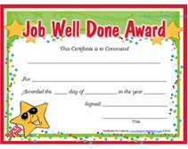 free printable job well done award certificates