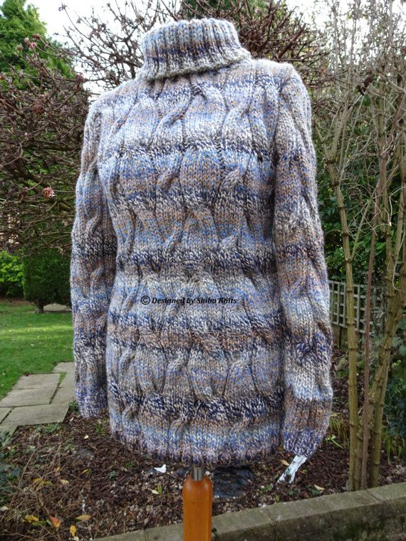 Hand Knitted Chunky Cabled Polo Neck Jumper Sweater by ShibaKnits