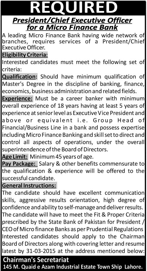 Micro Finance Bank Lahore JobsThis post share to all your friends - chief executive officer job description