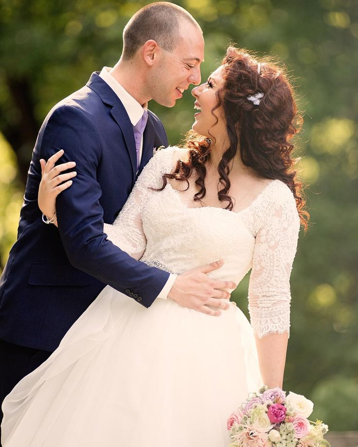 David's Bridal bride Daniela in lace three quarter sleeve ball gown available at David's Bridal