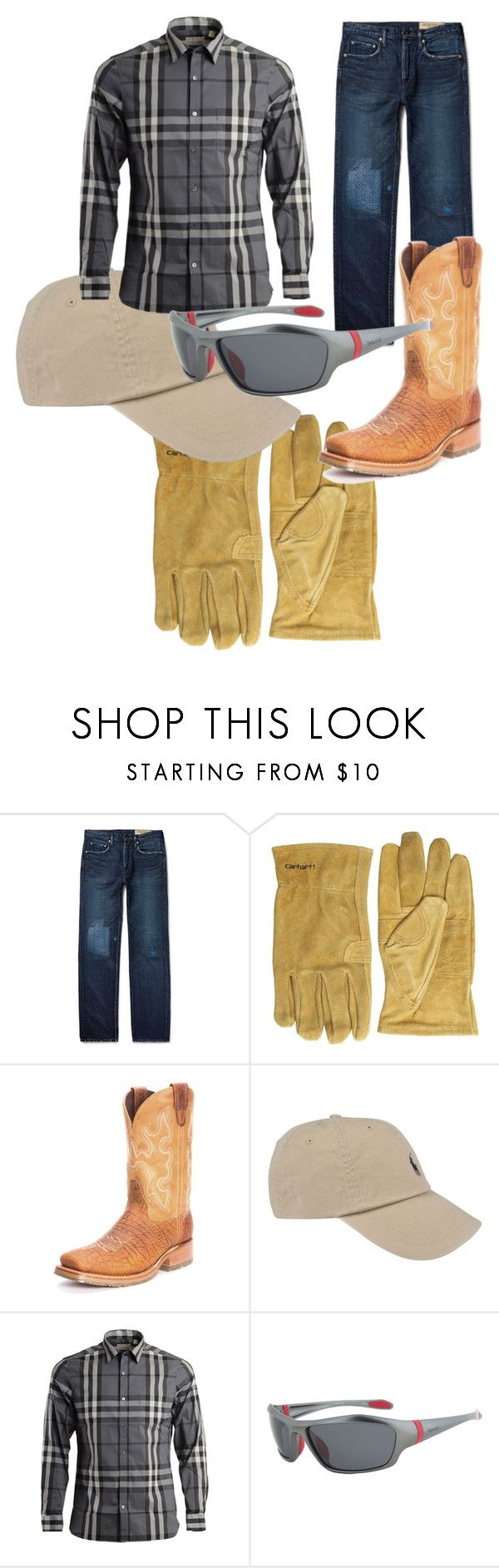 """""""Back To Work"""" by abren-chesser on Polyvore featuring Kapital, Carhartt, Double-H Boots, Polo Ralph Lauren, Burberry, Timberland, mens, men, men's wear and mens wear"""