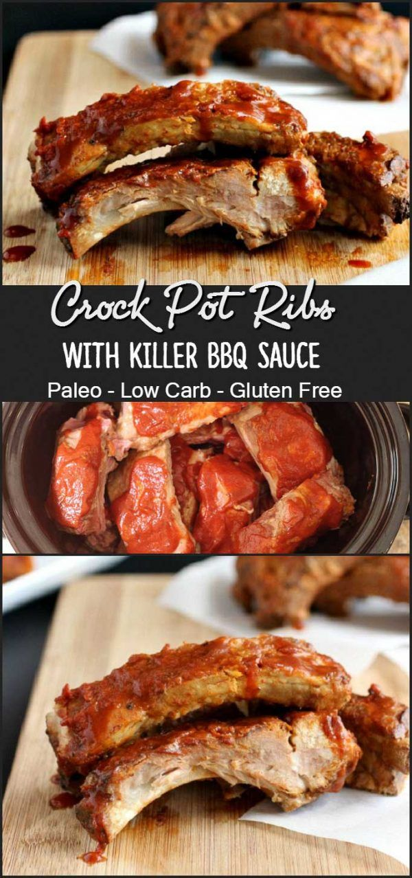 Crock Pot Ribs & Killer BBQ Sauce - Paleo & Low Carb Pork Ribs made in the slow cooker with homemade sauce. Tender, fall off the bone ribs without the grill. So Good!!