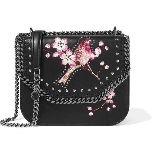 Stella McCartney The Falabella embroidered faux leather shoulder bag (£865) ❤ liked on Polyvore featuring bags, handbags, shoulder bags, studded purse, vegan handbags, studded handbags, studded shoulder bag and floral handbags