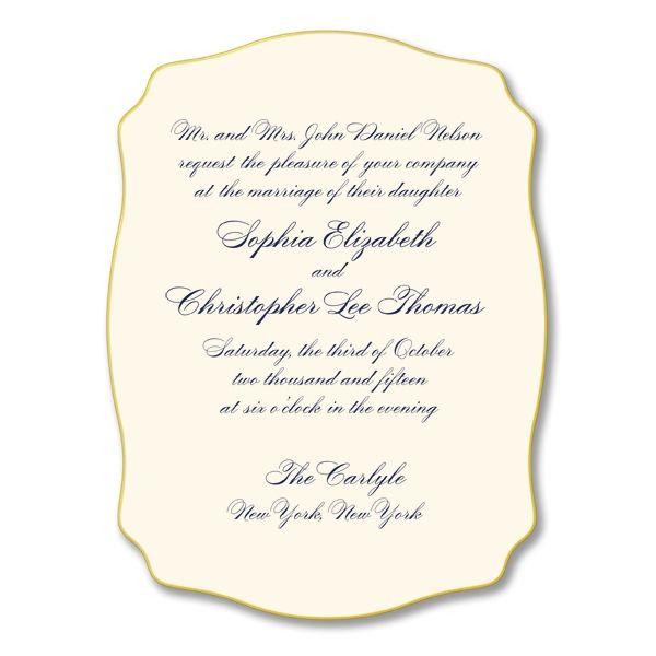 Engraved Heavyweight Gold Edged Ecru Arabesque Wedding Invitation By William  Arthur