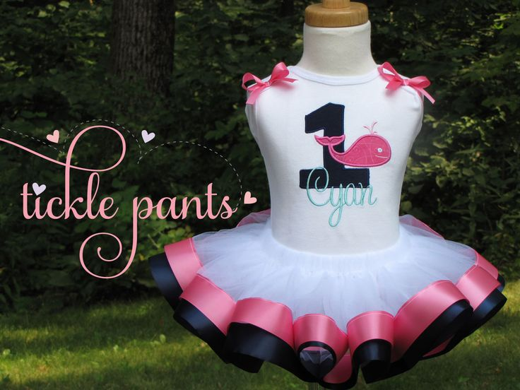 Nautical Birthday Tutu Outfit Dress Can be made to match your party Anchors Away Pink navy and stripes- Includes top and ruffled tutu