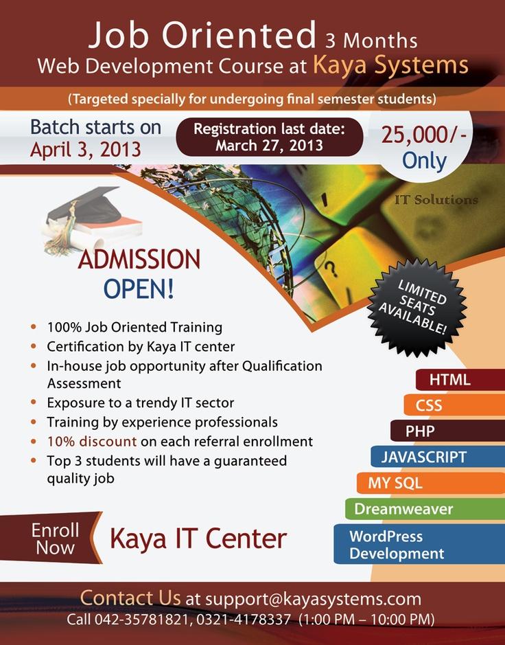 Kaya IT Center flyer for the 3Month Web Development