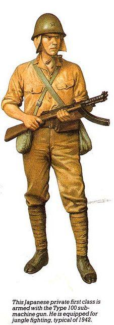 Esercito Imperiale Nipponico - Soldato scelto armato con mitra type 100 ed euipaggiamento da giungla ,1942