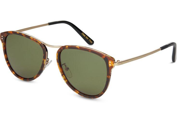 TOMS TOMS Franco Whiskey Tortoise Sunglasses with Glass Bottle Green Lens. #toms #