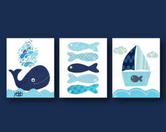 Azul marino vivero arte guardería náutica ballena vivero decoración baño barco pescado arte océano mar infantil - Set de 3 láminas