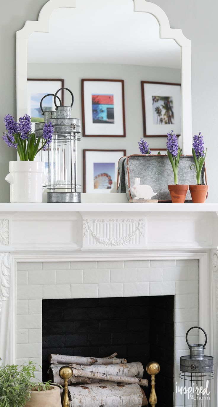 Spring Mantel Decor - spring home decor ideas - farmhouse decorating - mantel styling