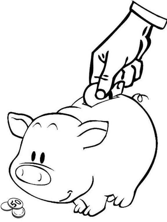 Piggy Bank Coloring Page For Learning Savings To The Kids Coloring Pages Coloring Sheets Coloring Pages For Teenagers