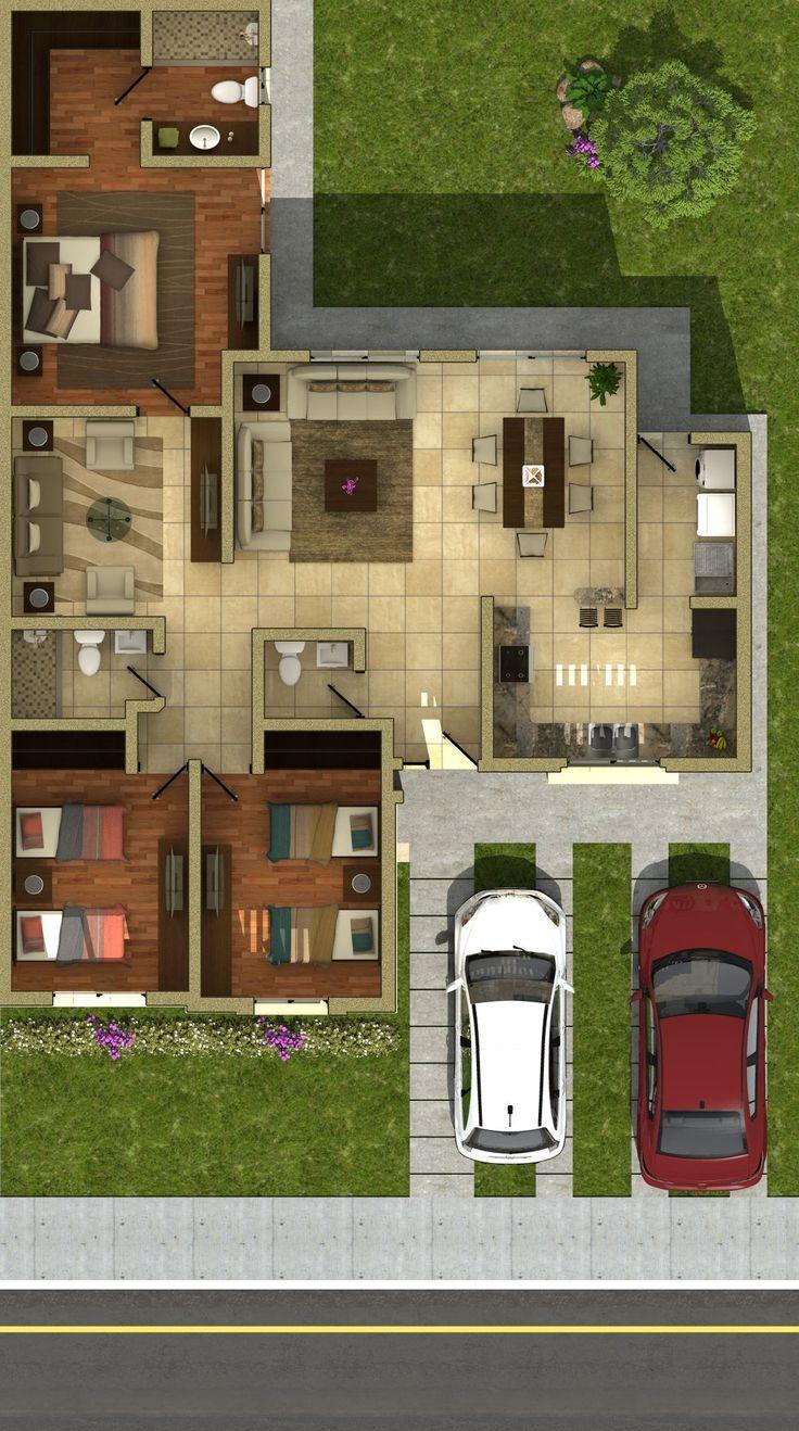 Las 25 mejores ideas sobre planos casas en pinterest y m s for Diseno casa planta baja