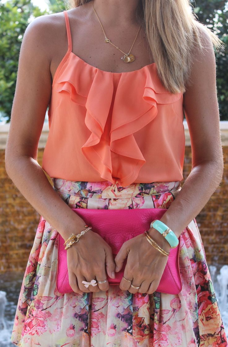 summer coral ruffle shirt with full floral skirt <3