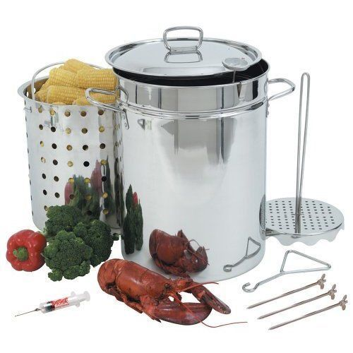 Turkey Fryer 32 Quart Stainless Steel Pot Deep Cookware Outdoor Chicken Steams  #HomeIdeas