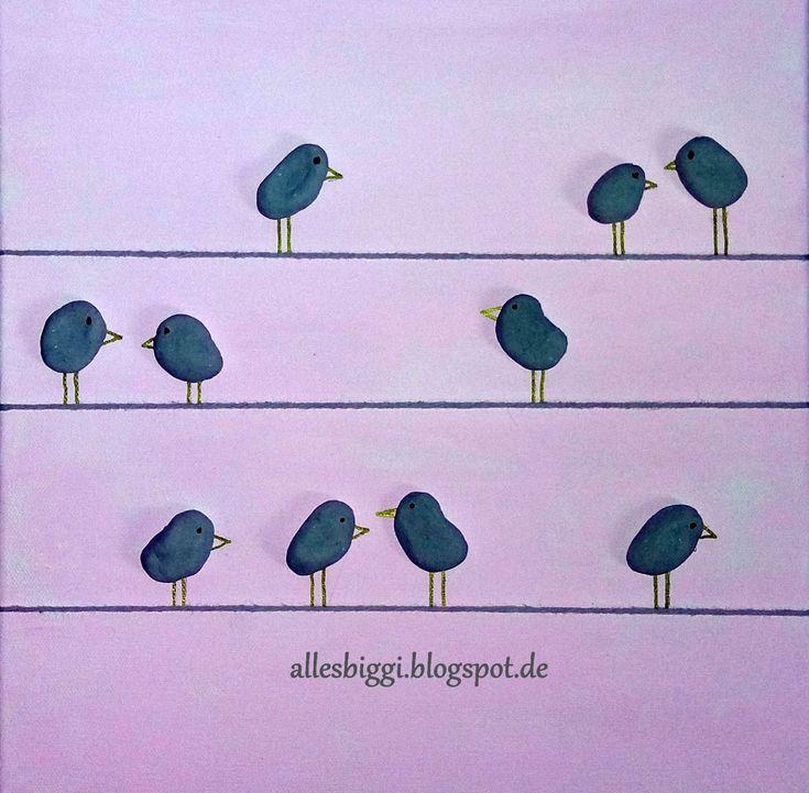 Deko nach Weihnachten, Frühlingsbild, Pebble Art Vögel, Vögel basteln, Frühlings-DIY
