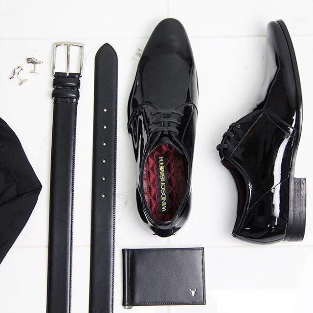RAMBA BLACK PATENT // The Windsor shoes, belt, wallet and cufflink combo  The Ultimate Windsor Look. #windsorsmith #windsorsmithmen #wsramba #wswilliamsburg #wsshoecufflink #ws0290belt