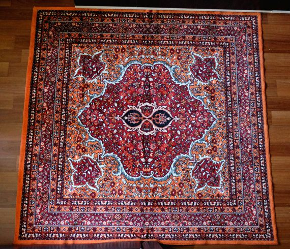 Vintage Orange/Red Rug soft thin kilim wall by MadeInTheUSSR
