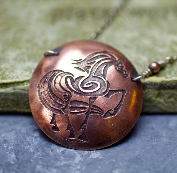Etched Copper Stylized Horse Necklace with Sterling by pottery123, $24.50