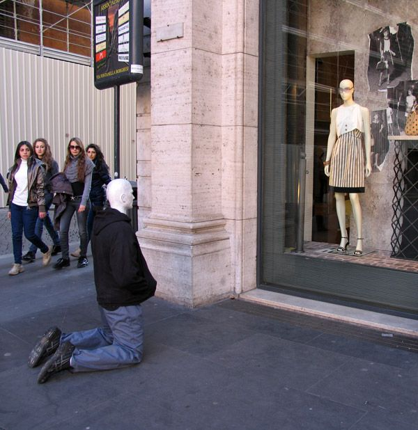 Quirky mannequin art by Mark Jenkins;  Rome, Italy
