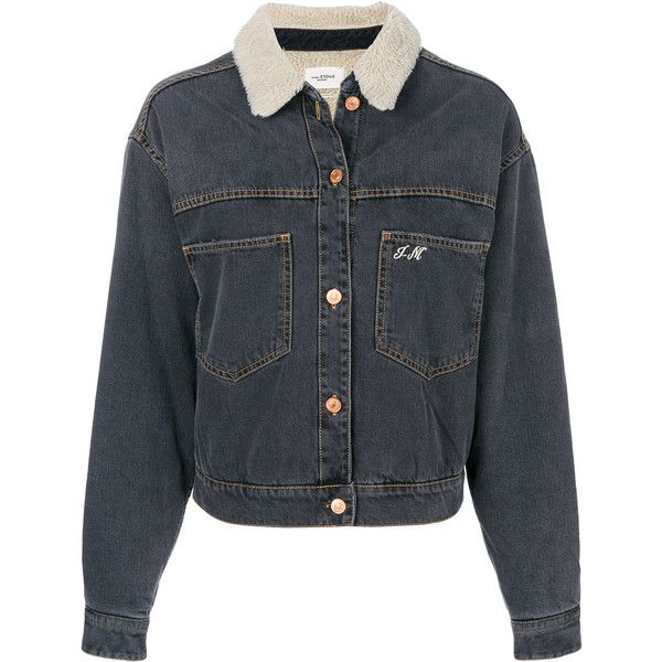 Isabel Marant Étoile lined denim jacket (£460) ❤ liked on Polyvore featuring outerwear, jackets, grey, letter jacket, long sleeve jean jacket, lined jean jacket, grunge jean jacket and long sleeve denim jacket