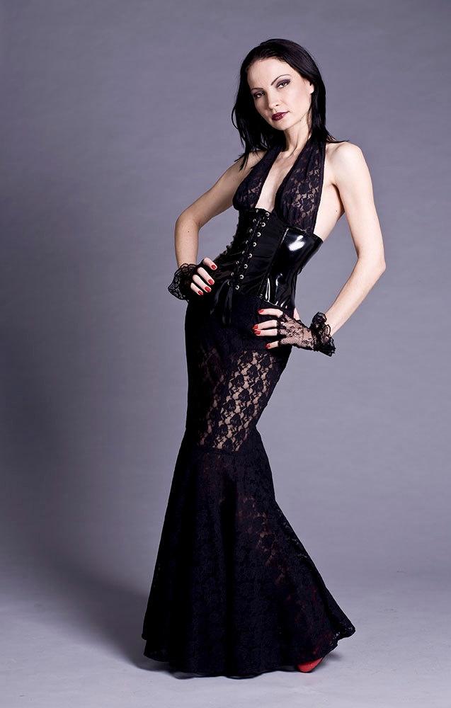 Black Lace & PVC Corset Gown