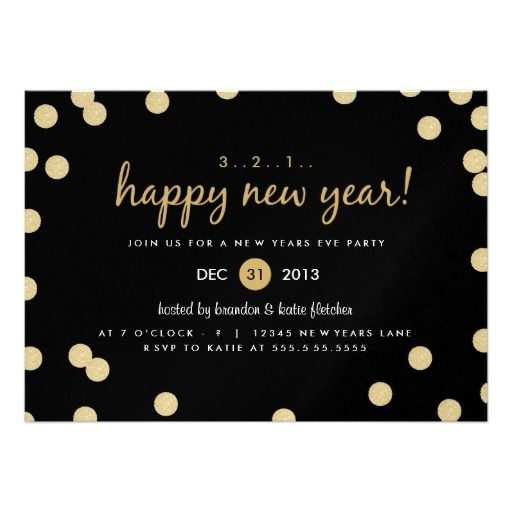 Gold Confetti New Years Eve Party Invite
